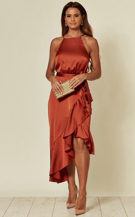 EXCLUSIVE ARIANA RUST SATIN HALTER FRILL DRESS by Style Cheat
