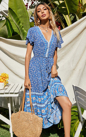 Floral Printed Tiered Midi Dress In Blue by FS Collection