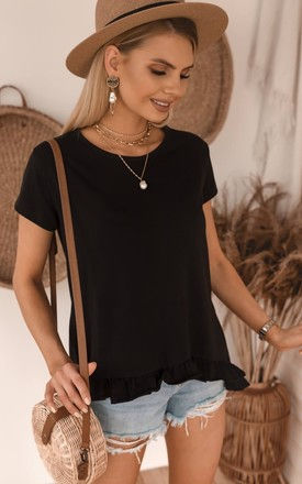 Black Oversize Summer Top/T-shirt with ruffle by Jenerique