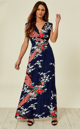 Navy Peacock Floral Summer Maxi Dress by Ruby Rocks