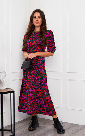 Adelyn Frill Sleeve Midi Dress Purple Floral by Girl In Mind