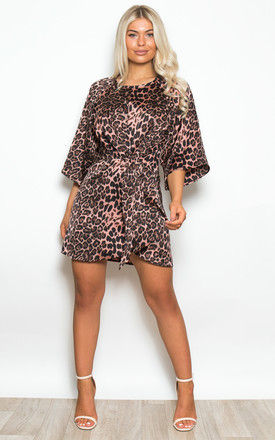 Annabelle Tie Front Mini Dress Pink Leopard by Girl In Mind