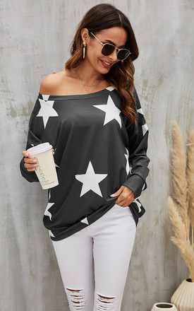 Oversized Star Print Top In Charcoal Grey by FS Collection