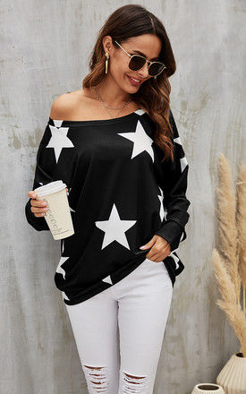 Oversized Star Print Top In Black by FS Collection