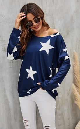 Oversized Star Print Top In Navy by FS Collection