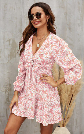 Mini Front Wrap Dress In Pink & White Floral Print by FS Collection