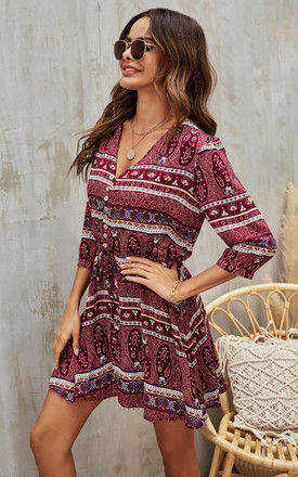 Paisley Floral Boho Summer Mini Dress In Wine by FS Collection