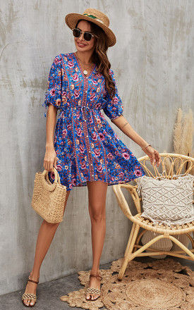 Purple Pink Peach Floral Printed Skater Dress In Blue by FS Collection