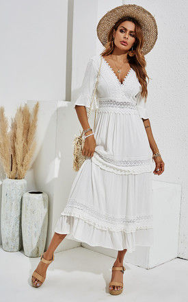 Double Sided V Neck White Lace Dress In Ivory White by FS Collection