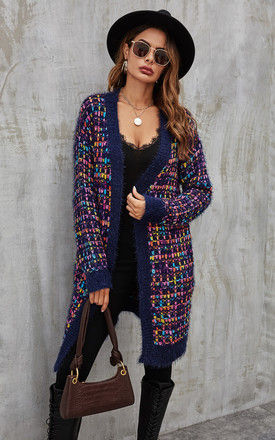 Pink mix Multi colour Speckles Boucle Check Cardigan In Navy by FS Collection