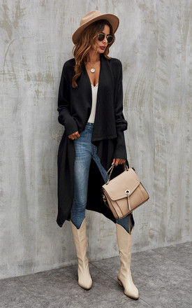 Black Chunky Pleat Oversized Cardigan by FS Collection