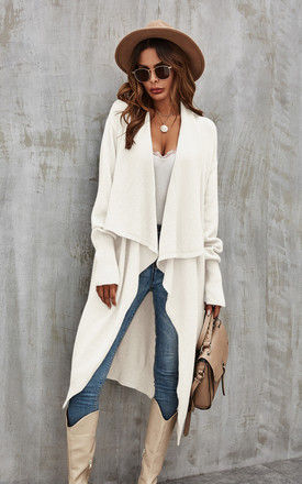 Cream Chunky Pleat Oversized Cardigan by FS Collection