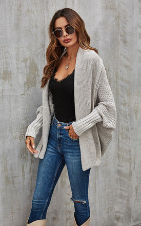 Chunky Pleat Oversized Cardigan In Grey by FS Collection