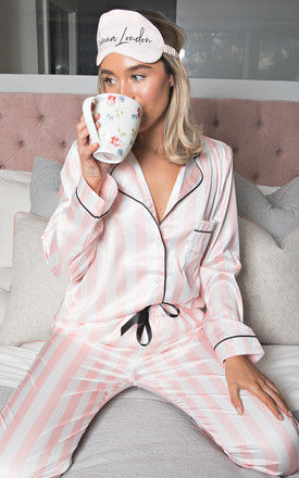 Silky Luxe Pink and White Stripe Satin Pyjama Set by Sienna London