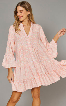 MADIHA High Low Tiered Smock Tunic in Pink by Blue Vanilla