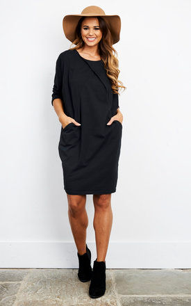 BLACK COTTON TWO POCKET DRESS by Bella and Blue