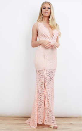Floor Length Pastel Pink Lace Open Back Dress by Love Triangle
