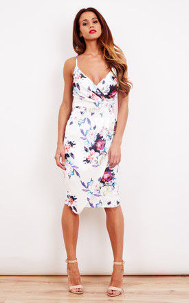 White Floral Pleated Wrap Bodycon Dress by Bella and Blue