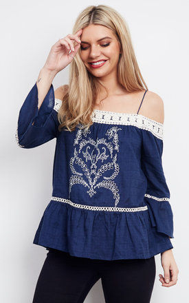 Contrast Lace Embroidered Top by Moon River