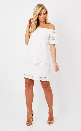 White Bardot Embroidered Dress by Oeuvre