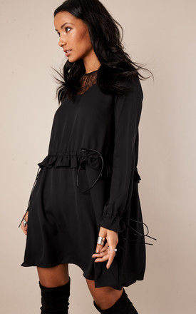 Black Frill Dress With Waist Frill by Glamorous