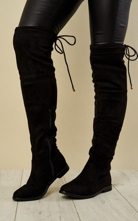 Black faux suede knee high tie back boots by Truffle Collection