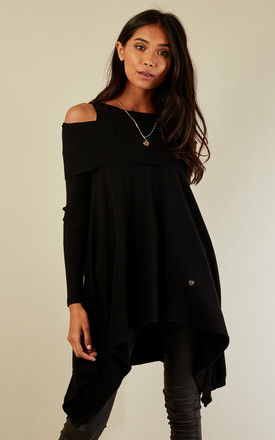 Black Ribbed Cold Shoulder Waterfall Jumper by Bella and Blue