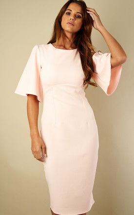 Light Pink Kimono Sleeve Fitted Dress by Bella and Blue