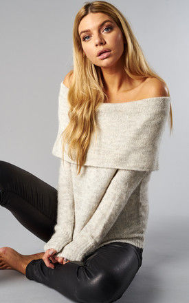 SILVER LONG SLEEVE OFF SHOULDER PULLOVER KNIT by ONLY