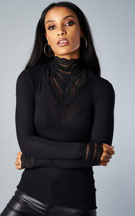 BLACK LACE HIGH NECK BLOUSE by ONLY
