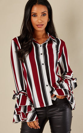 Red Striped Ruffle Sleeve Shirt by Oeuvre