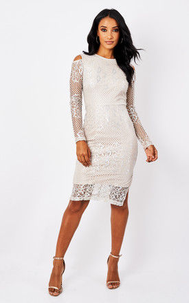 Silver Cold Shoulder Lace Midi Dress by True Decadence