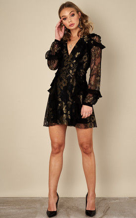 BLACK GOLD BUMBLE LONG SLEEVE RUFFLE DRESS For Love and Lemons by For Love And Lemons