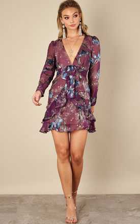 Violet Orchid Cleo Floral Party Dress by For Love And Lemons