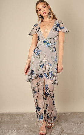 SILVER ORCHID CLEO FLORAL MAXI DRESS by For Love And Lemons