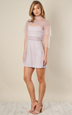 LILAC OFF THE SHOULDER MESH RUFFLE MINI DRESS by True Decadence