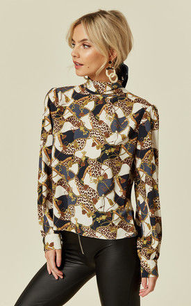 Luna Leopard Chain Print High Neck Blouse with Pussybow by Love