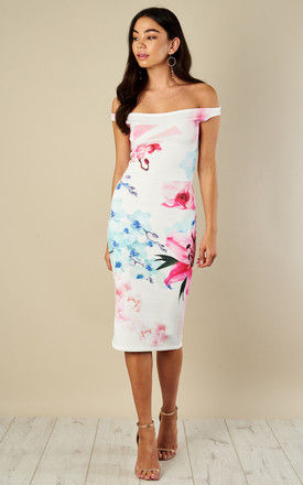 Off Shoulder Floral Bodycon Dress by Bella and Blue