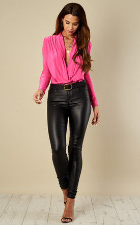 Hot Pink wrap over bodysuit by Bella and Blue