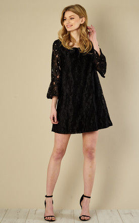 Black Bell Sleeve Dress with Tie Back by Glamorous