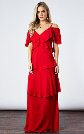 LIPSTICK TIERED MAXI DRESS by If By Sea