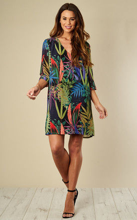 Molly 3/4 Sleeve Tropical Mini Shift Dress in Black by Traffic People