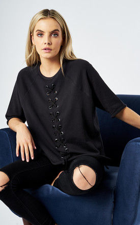 VERTICAL LACE UP TEE BLACK by South Parade