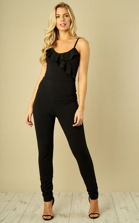 BLACK STRAPPY JUMPSUIT WITH FRILL DETAIL by Bella and Blue