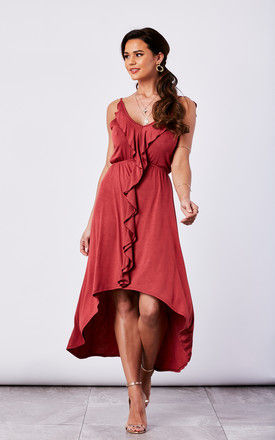 COGNAC WOVEN HIGH LOW DRESS WITH CASCADING RUFFLES by The Vanity Room