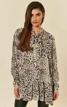 Beige Leopard Print Pussybow Blouse by Bella and Blue