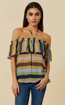 South Beach Off the Shoulder Halterneck Blouse in Blue and Brown by Once Upon a Time