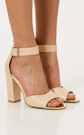 Nude PU Leather Block Heels With Ankle Strap by Truffle Collection