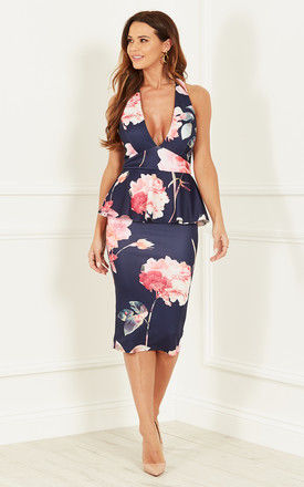 NAVY FLORAL PEPLUM DRESS by Bella and Blue