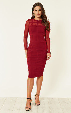 Lily Grid Long Sleeve Bodycon Dress Berry by Girl In Mind